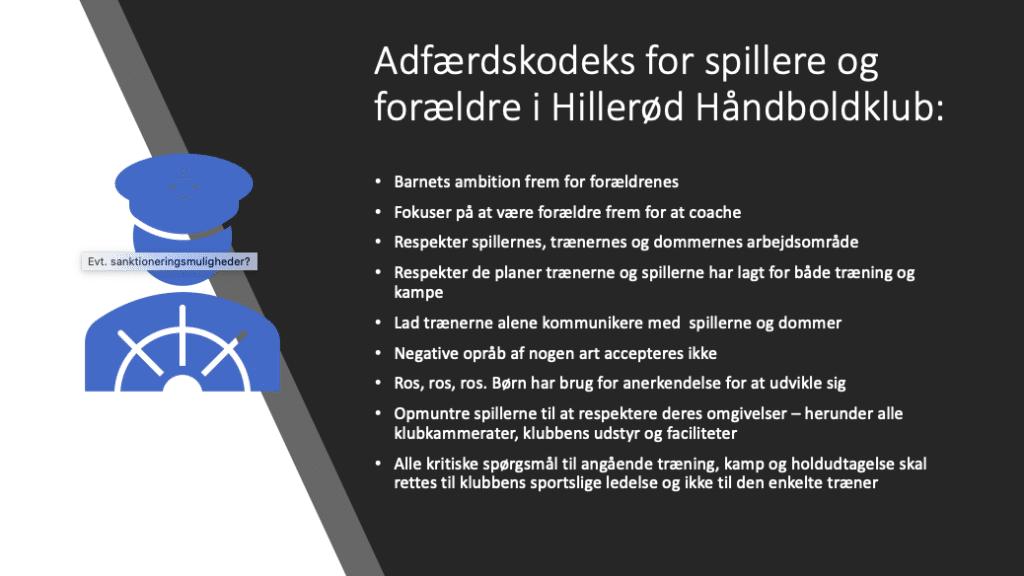 Adfærdskodeks for spillere og forældre i Hillerød Håndboldklub.